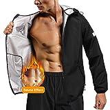 Junlan Sauna Suit for Mens Sweat Jacket Sauna Pants Gym Workout Sweat Suits (Black Tops Only, XXX-Large)