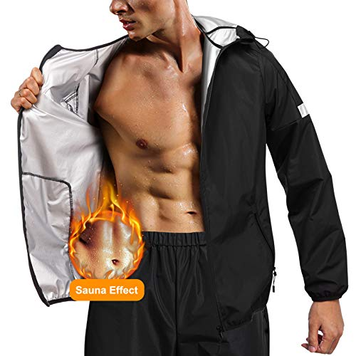 Junlan Sauna Suit for Men Sweat Jacket Sauna Pants Gym Workout Sweat Suits (Black Tops Only, Medium)