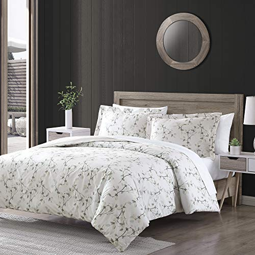 Brielle Everly Watercolor Leaf 3 Piece Comforter Set - King/California King, Blue Watercolor Leaf Cotton Printed