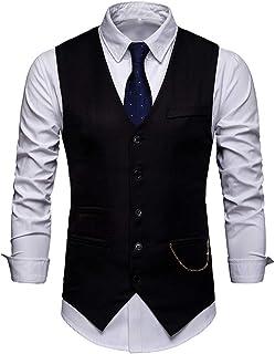 Men's Suit Vest V-Neck Sleeveless Classic Fashion Jacket Blazer Leisure Waistcoat Slim Fit Tuxedo Tailcoat Business Weddin...