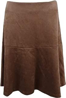 Womens Faux Seude Swing Midi Skirt Brown 16