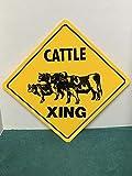 Señal de Cruce de Ganado Xing con diseño de Vacas y Angus de la Carne de Vacuno de 12 x 12 Pulgadas