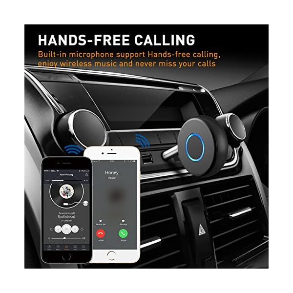 Mini Bluetooth 4.2 Receiver,Wireless Audio Bluetooth Adapter, Portable Hands-Free Car Kits for 3.5mm Audio Devices,TV,Home/Car Stereo Music Streaming Sound System 5