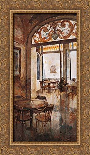 Martin, Noemi 14x24 Gold Ornate Framed Canvas Art Print Titled: Grand Cafe Cappuccino I