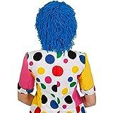 Amakando Clownperücke Clowns Haare blau Clownsperücke Clown Perücke Karnevalskostüme Accessoires Wollhaare Karneval Harlekin Faschingsperücke