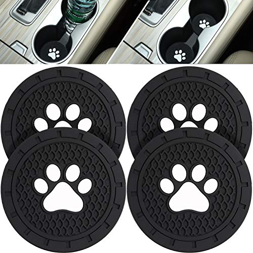 Boao 4 Packs Paw Car Coasters Car Cup Holder Coasters Silicone Anti Slip Dog Paw Coaster Mat Accessories for Most Cars, Jeeps,Trucks, RVs and More, 2.75 Inch (Black)
