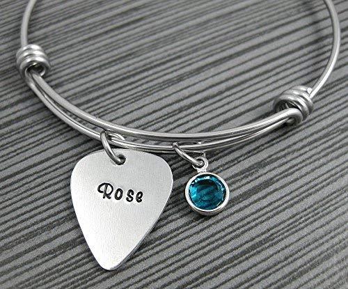 Guitar Pick Charm Bracelet/Personalized Expandable Bracelet/Music Lovers Jewelry/Custom Guitar Pick Jewelry