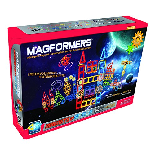 Magformers Magnets in Motion Set - Engineering Magnet Toys for Brain Development - 300 Pc Set
