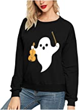 ANJUNIE Halloween Loose Fit Pullover Women Ghost Printing Round Neck Sweatshirt Top Outwear