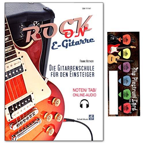 Rock-On E-Gitarre - die Gitarrenschule für den Einsteiger (Noten/TAB/Online-Audio) von Frank Hüther mit Musik-Schubert Plektrum-Card - ideal als Geschenk geeignet