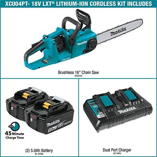 "Makita XCU04PT LXT Lithium-Ion Brushless Cordless 16"" Chain Saw Kit (5.0Ah) Maine"