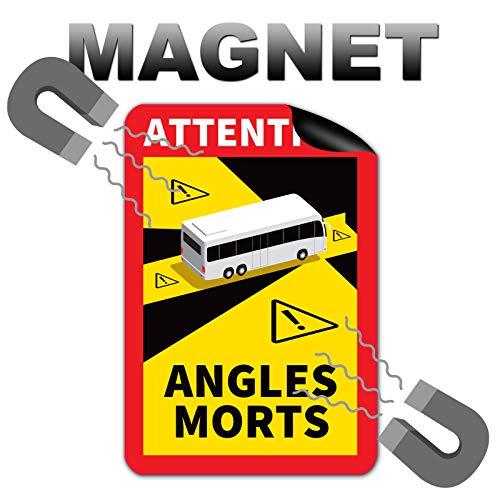 3 Stück Attention Angles Morts Magnetschilder 25 x 17 cm Magnet für Bus und Wohnwagen Warntafel Hinweiszeichen Schild Frankreich mit UV Schutz