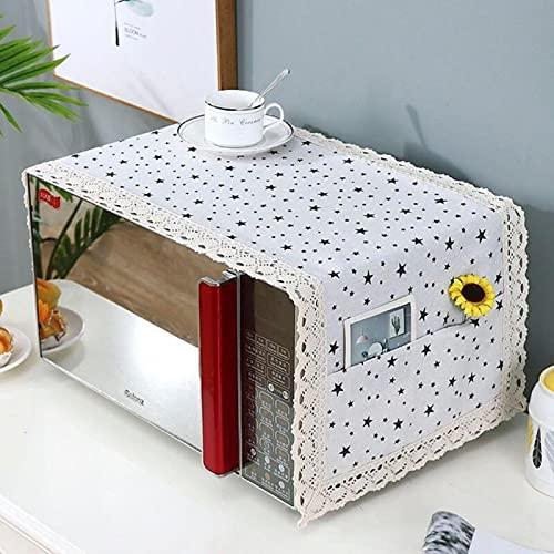 Vottle Cocina Cubierta de microondas de Lino de algodón Campana de Horno de microondas Cubierta de Polvo de Aceite con Bolsa de Almacenamiento Accesorios de Cocina Decoración del hogar