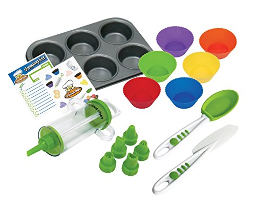 Curious Chef Kids Cookware - 16-Piece Cupcake & Decorating Kit I Real Utensils, Dishwasher Safe, BPA-Free I Non-stick Tin, Liners, Silicone Mixing Spoon, Frosting Spreader, Decorator Tube and More!, M