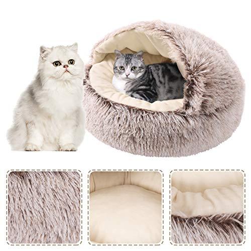 Dihope Katzenkörbchen Kuschelhöhle mit Plüsch warm Kuschelbett Hundebett Katzenbett für Kleintiere Hunde Katzen leicht zu entfernen und zu waschen(Khaki,S)