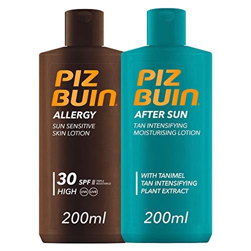 Piz Buin,Allergy Loción Piel Sensible al Sol, Cuerpo ,SPF 30, Protección alta,200ml + After Sun Loción Intensificadora del bronceado,200ml