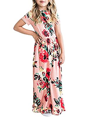 ZESICA Girl's Summer Short Sleeve Floral Printed Empire Waist Long Maxi Dress with Pockets Pink