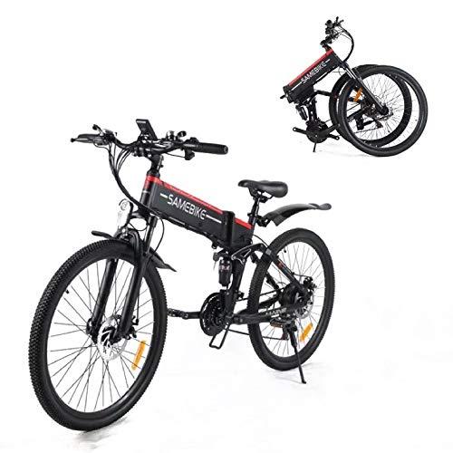 SAMEBIKE Bicicleta de Montaña Eléctrica Plegable, Bicicletas Eléctricas para Adultos Motor sin Escobillas 500W, con Instrumento LCD Central con Función USB, 21 Velocidades[EU Stock]