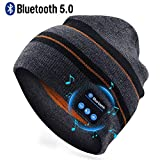 Puersit Bluetooth Beanie Wireless Headphone Hat Music Soft Hat with Stereo Speakers,Winter Knit Hat Wireless Mic Hands-Free for Men Women Sports Fitness Travel Birthday Xmas Gift (Black Stripe)