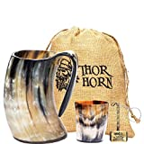 Thor Horn Drinking Horn Mug with Acrylic Base for Men and Women -...