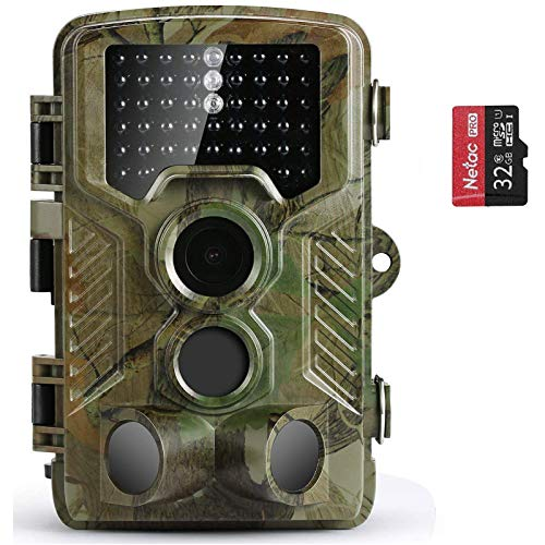 COOLIFE Wildkamera Fotofalle 21MP 1080P HD Jagdkamera Nachtsicht Bewegungsmelder IP66 Wasserdichter& Staubdicht 3-Zonen-Infrarotsensor 125 °Weitwinkel Nachtsichtkamera mit 32G Speicherkarte