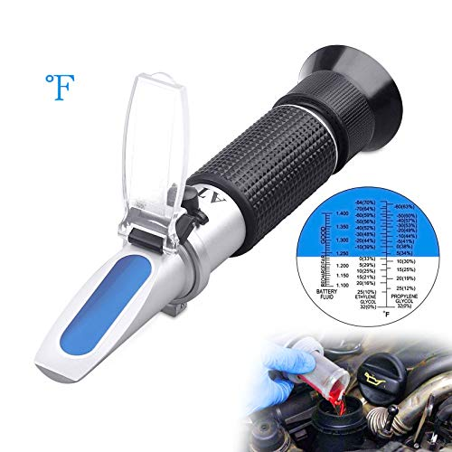 Antifreeze Refractometer - 3-in-1 coolant Tester for Checking Freezing Point, Concentration of Ethylene Glycol or Propylene Glycol Based Automobile Antifreeze Coolant and Battery Acid Condition