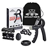 Dragtiger Hand Grip Strengthener Workout Kit (5 Pack) Forearm Grip Adjustable Resistance Hand...