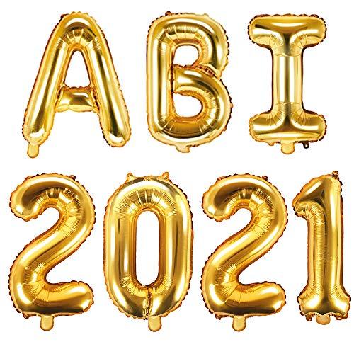 XXL Folien-Ballons ABI 2021 gold Buchstaben-Balloon-Girlande Luft-Ballons Schriftzug Höhe 35cm Abitur Schul-Abschluss Abi-Party Feier Schul-Ende Gymansium Matura Diplom Reife-Prüfung Raum-Deko-ration