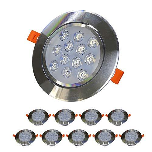 12W LED LIGHTING LIGHTING LUGAR LUGAR NO DIMMABLE HIGHT HIGHTUS AGUJERO Tamaño de la iluminación 115-120mm Foco de aluminio Downlights para baño de cocina [Clase de energía A +] (Color : 10 pack)