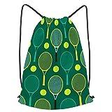 Impermeable Bolsa de Cuerdas Saco de Gimnasio Ilustración de pelotas de raquetas de tenis de patrones sin fisuras Deporte Mochila para Playa Viaje Natación