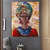 KWzEQ Niña Africana Arte Papel Pintado Lienzo Pintura decoración Moderna decoración del hogar,Pintura sin Marco,50x60cm