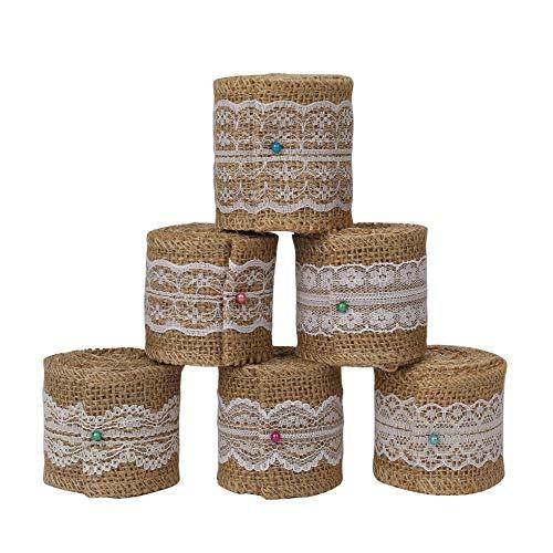 Cinta de arpillera de Encaje Rollo de cinta artisanal Adornos de yute para bricolaje, Rústico Decoración de bodas, decoración del hogar y envoltura de regalos, 6 rollos