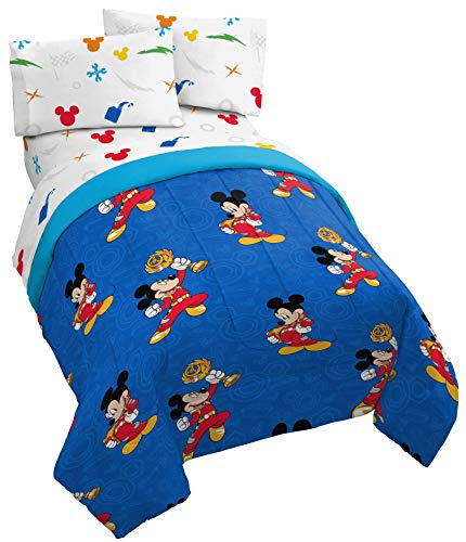 Jay Franco Disney Mickey Mouse Trophy 4 Piece Twin Bed Set - Includes Comforter & Sheet Set - Super Soft Fade Resistant Polyester - (Official Disney Product)