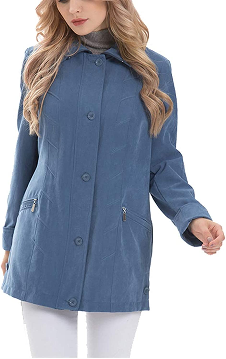 Saborz Women's Lightweight Jacket Autumn Ladies Coats Micro Moss Classic Jacket Outerwear