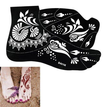 2 Hojas Plantillas de Mehndi tatuaje de Henna Tatuajes de henna S401 hoja grande para los pies - desechable