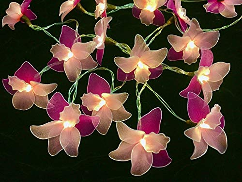 Orchid Flowers String Lights 20 LED Battery Fairy Lights for Home Party Decoration Valentine's Day, Wedding, Room, Garden, Christmas, Patio, Festival Party Decor.