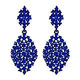 EVER FAITH Orecchini Donna Cristallo austriaco festa Vuoto-fuori lacrima Pierced Orecchini pendenti Blu Colore zaffiro