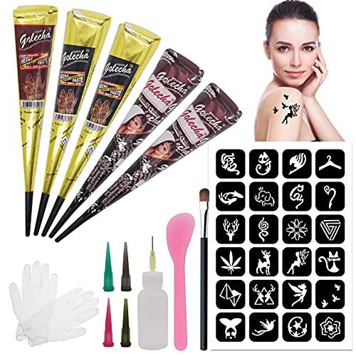 Body Art Kit de Tatuaje Temporal, Tatuaje Semipermanente, Etiquetas Engomadas del Tatuaje Impermeable, Tatuajes Temporales Sanas y Naturales