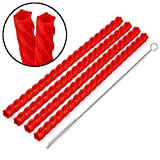 Funwares Cherry Red Straws VSCO Set of 4 Reusable Straws and Cleaning Brush