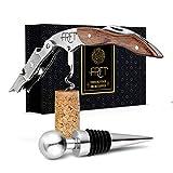 FRFT – Premium Korkenzieher Wein – Flaschenöffner aus rostfreiem Edelstahl & Rosen Holz – Weinöffner Set Kellner mit Weinstopper & Magnetbox