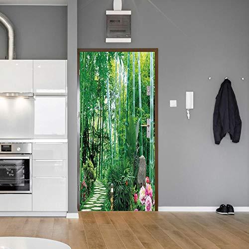 BXZGDJY 3D-deursticker, zelfklevend, muurschildering van bamboeboe en kunststof, afneembare deur, plakfolie, bloem, woonkamer, slaapkamer, kinderen, restaurant, kantoor, bar, deur, kunst decoratie 88x200cm