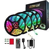 LUXDAMAI 65,6 Ft LED Lichtleisten mit 44-Tasten Bluetooth Fernbedienung 600LEDs 5050 RGB, Timer-Funktion/einstellbare Länge für Schlafzimmerdecke unter dem Schrank Kinderzimmer,Not Waterproof