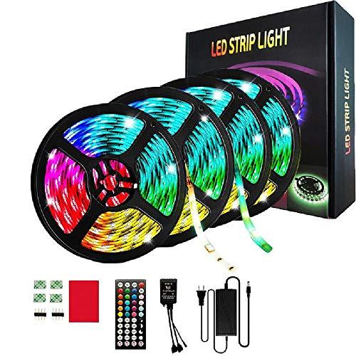 LUXDAMAI 65,6 Ft LED Lichtleisten mit 44-Tasten Bluetooth Fernbedienung 600LEDs 5050 RGB, Timer-Funktion/einstellbare Länge für Schlafzimmerdecke unter dem Schrank Kinderzimmer, Waterproof