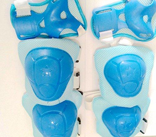 Eruner Lot de 6 protections de poignets, coudes et genoux pour enfants 3–6 ans Design épais Pour vélo, rollers, patins, bleu
