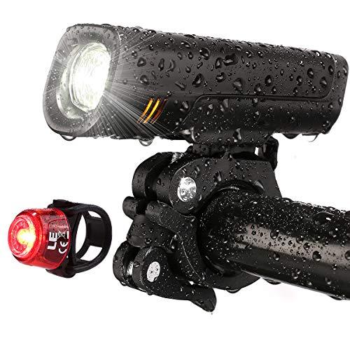 LE - Ensemble d'Éclairage de Vélo LED CREE, Lampe Vélo LED Avant et Feu Arrière Rechargeable USB et Étanche, 4 Modes d'Éclairage Phare et Feu Arrière de Vélo pour VTT Cyclisme Poussette