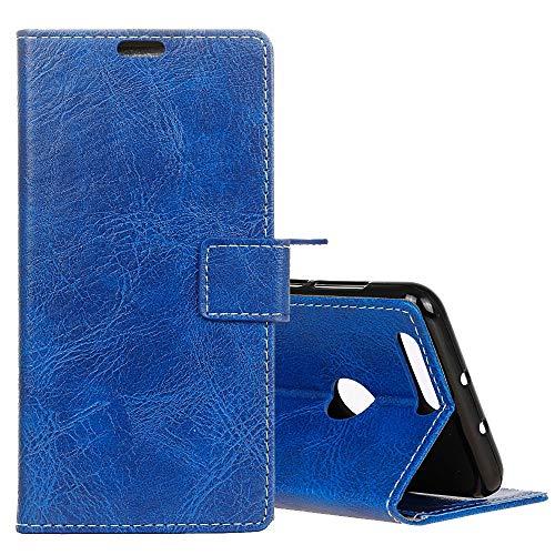 HUANGCAIXIA Shell Protector del teléfono móvil Funda de Cuero con Textura Retro de Crazy Horse para OPPO A7, con Soporte y Ranuras para Tarjetas y Marco (Color : Blue)