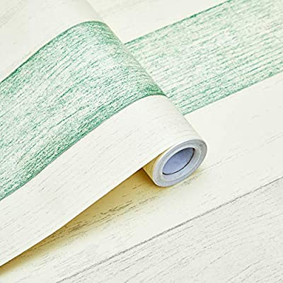 """Viseeko Peel and Stick Wood Wallpaper Self-Adhesive Wall Covering 17.7""""x 118"""" Removable Wallpaper for Home Decoration and Furniture Renovation(Green)"""