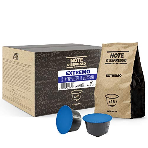 Note d'Espresso - Cápsulas de café 'Extremo', Exclusivamente Compatibles con cafeteras de cápsulas Nescafé, y Dolce Gusto, 96 unidades de 7g