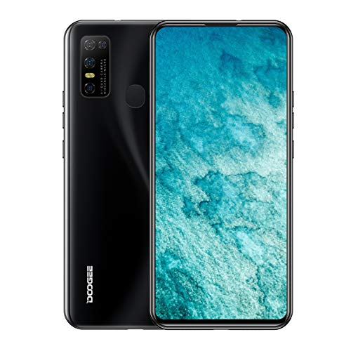 """DOOGEE N30 Unlocked Cell Phones(4GB+128GB) 6.55"""" FHD+Perforated Screen, 4500mAh High Capacity Battery Smartphone with 16MP AI Quad Camera, Android 10 and Dual 4G Volte (Magic Black)"""