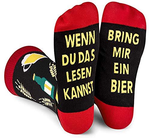 ANGOOL Bier Socken Herren,Wenn Du das Lesen Kannst bring mir Bier Socken,Geburtstagsgeschenk für Männer,Weinliebhaber